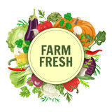 Vegetables in circle. Vector circle label or banner with fresh vegetables. Concept for vegan, organic, farm produsts Stock Photos