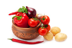 Vegetables in a clay pot Royalty Free Stock Images