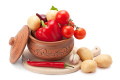 Vegetables in a clay pot Royalty Free Stock Image