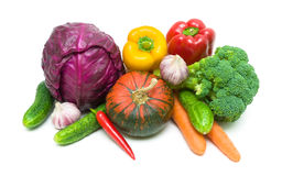 Vegetables close-up on a white background. Royalty Free Stock Photos