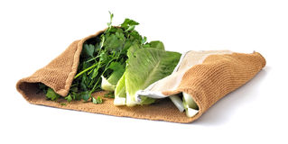 Vegetables within a cloth. Washed lettuce and parsley, wrapped within a brown cloth to dry Stock Photography