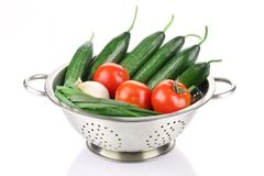 Vegetables in colander. Stock Photo