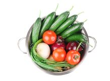 Vegetables in colander. Royalty Free Stock Photography