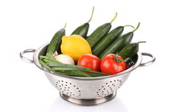 Vegetables in colander. Stock Images