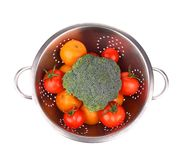 Vegetables in colander. Royalty Free Stock Image