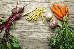 Vegetables collection with carrot, beans and beetroot Royalty Free Stock Images