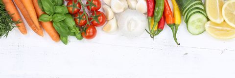 Vegetables collection tomatoes carrots cooking ingredients copys. Pace banner top view from above Royalty Free Stock Images