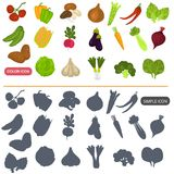 Vegetables color flat and simple icons set for web and mobile design. Vegetables color flat and simple icons set Stock Image