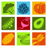 Vegetables color icons 2 Stock Photo