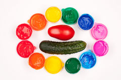 Vegetables and color paints. Motley paints on the white background with vegetables. paints arranged in rainbow oval ring with tomato and cucumber in the center Stock Image