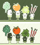 Vegetables colored cartoon. Hand drawn characters Royalty Free Stock Photography