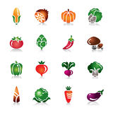 Vegetables Colorful Icons. A collection of different kinds of vegetables colorful icons. It contains hi-res JPG, PDF and Illustrator 9 files Stock Illustration