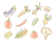 Vegetables colourful doodles set Royalty Free Stock Photography