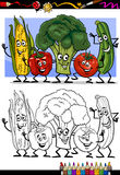 Vegetables comic group for coloring book. Coloring Book or Page Humor Cartoon Illustration of Vegetables Comic Food Objects Group for Children Education Stock Images