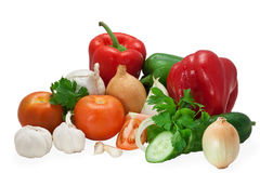 Vegetables composition. Mixed arrangement of vegetables on white background Royalty Free Stock Photography