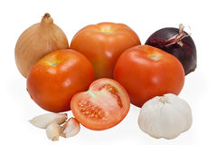 Vegetables composition. Mixed arrangement of vegetables on white background Stock Photos