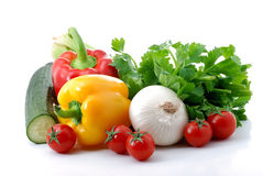 Vegetables composition. Close up of fresh vegetables isolated over white Royalty Free Stock Image