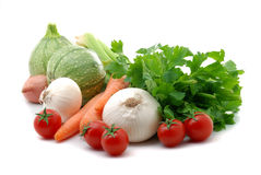 Vegetables composition. Close up of fresh vegetables isolated over white Royalty Free Stock Photo