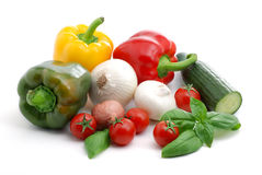 Vegetables composition. Close up of fresh vegetables isolated over white Stock Photos