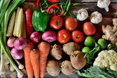Vegetables composition on wooden background. With copy space Royalty Free Stock Photos