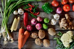 Vegetables composition on wooden background. With copy space Royalty Free Stock Photography