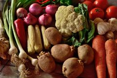Vegetables composition on wooden background. With copy space Stock Image