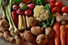 Vegetables composition on wooden background. With copy space Royalty Free Stock Photo