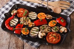 Vegetables cooked on the grill pan closeup. Horizontal Royalty Free Stock Photos
