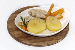 Vegetables with cooked white chicken meat Stock Photography