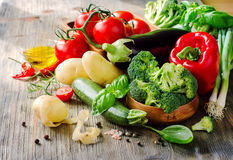 Vegetables for cooking healthy dinner, fresh vegan ingredients Stock Images