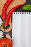 Vegetables and cooking utensils Royalty Free Stock Image