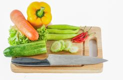 Vegetables for cooking. On   wooden Royalty Free Stock Photography