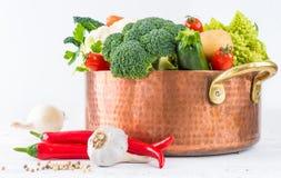 Vegetables in copper pot. Stock Images