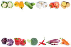 Vegetables copyspace copy space border tomatoes fresh bell pepper. Isolated on a white background in a row royalty free stock photography