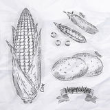 Vegetables corn, peas, potatoes vintage Stock Image