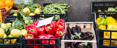 Vegetables in Crates at Market. Vegetables in Crates at a Market in Sorrento on the Amalfi Coast Stock Photography