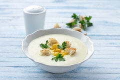 Vegetables cream soup with corn, croutons and parsley Royalty Free Stock Photography