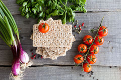 Vegetables and crispbread Stock Photography