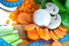 Vegetables cut on a board Stock Photography