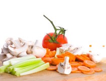 Vegetables cut on a board Stock Images