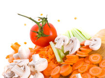 Vegetables cut on a board Royalty Free Stock Images