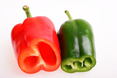 Vegetables. Cut off red and green peppers Royalty Free Stock Images