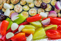 Vegetables are cut into pieces for roasting. Royalty Free Stock Photo