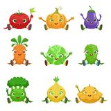 Vegetables Cute Girly Characters Sitting And Waving Royalty Free Stock Photo