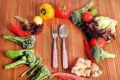Vegetables and cutlery Royalty Free Stock Photo