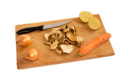 Vegetables on a cutting board. Isolated Royalty Free Stock Photography