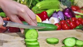Vegetables. Cutting a cucumber on the chopping board ,surrounded by Vegetables ,Action cam ,zoom out stock video footage