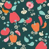 Vegetables on dark background seamless pattern vector illustration