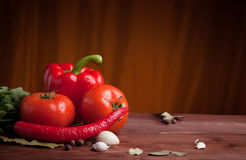 Vegetables on dark wood background with herbs. Red pepper, tomatoes and chili pepper on dark wood background with herbs and spices Stock Images