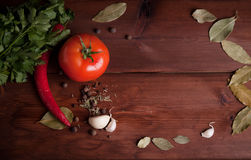 Vegetables on dark wood background with herbs. Tomato and chili pepper on dark wood background with herbs and spices Royalty Free Stock Photography